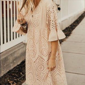 NWT Boho Lace Bell Sleeve Scallop Hem Lined Dress